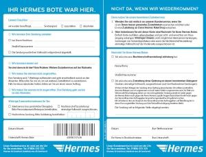 benachrichtigungskarte von hermes im paketbriefkasten